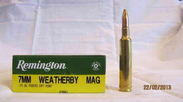 Remington 7MM Weatherby Magnum 175grs PSP (pointed soft point)