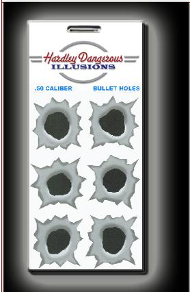 Hardley Dangerous Illusions - Falske kulehull 50 BMG, stickers